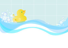 Illustration with the image of a toy duck floating in the water among the soap suds.   Royalty Free Stock Images