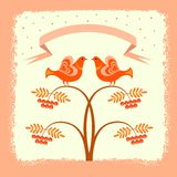 Illustration with the image of two birds sitting on branches of Rowan and ribbon for your text at the top. Stock Image