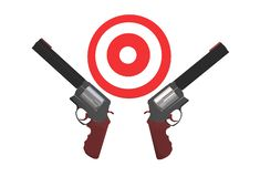 An illustration image of two revolver handguns and a red target board royalty free stock images
