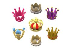 An illustration image of various kinds of king crowns royalty free stock images