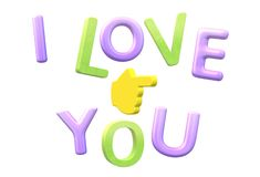 An illustration image of the words I love you and a hand pointing royalty free stock images