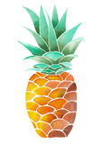 Illustration (image) with yellow watercolor pineapple Stock Photos