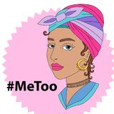 Illustration imitation de vecteur de Hashtag avec la femme triste Photographie stock