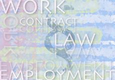 Important terms relating to work and law stock image