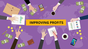 Illustration of improving profit discussion in a meeting with paperworks, folder document and money on top of table  Stock Image