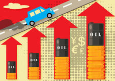 Oil Increase. A  illustration about increasing in oil price, production, motoring and fuel costs Royalty Free Stock Images