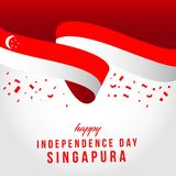 Illustration ind?pendante heureuse de conception de calibre de vecteur de jour de Singapour illustration stock