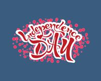 Independence day text lettering blue and red. Illustration of Independence Day text. Hand drawn lettering for poster, banner,icon, logo, card etc Stock Image