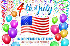 Illustration of Independence Day Vector Poster. 4th of July Lettering. American Red Flag on Blue Background with Stars and Confett Royalty Free Stock Photo