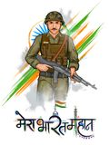 Indian Army soilder nation hero on Pride of India background. Illustration of Indian Army soilder nation hero on Pride background with text in Hindi Mera Bharat vector illustration
