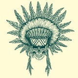 Illustration of indian chief. Hand drawn style.Vector illustration Stock Images