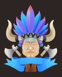 Illustration of the Indian chief with a tomahawk Stock Image