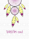 Illustration with Indian dreamcatcher. Cute illustration with Indian dreamcatcher Royalty Free Stock Image