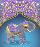 Indian elephant decorated for a Wedding. Illustration of Indian elephant decorated for a Wedding Royalty Free Stock Photos