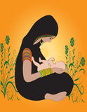 Illustration of an Indian Hindu Mother with kid Royalty Free Stock Photos