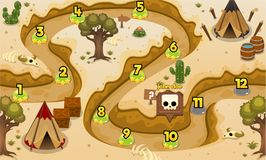 Indian Tribe Desert Game Level Map. Illustration of indian tribe desert for creating game level map for adventure or puzzle games royalty free illustration