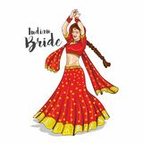 Illustration indienne de jeune mariée illustration de vecteur
