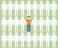 Illustration of the individuality of one man among the gray mass. 1 royalty free illustration