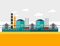 Illustration of industrial nuclear power plant in. Flat style Royalty Free Stock Images