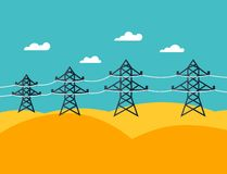 Illustration of industrial power lines in flat Stock Images