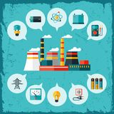 Illustration of industrial power plant in flat vector illustration