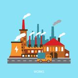 Illustration of industrial power plant in flat Stock Photos