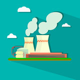 Illustration of industrial power plant in flat Royalty Free Stock Photography