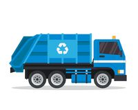 Illustration industrielle de camion à ordures d'isolement par appartement moderne illustration stock