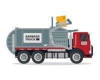 Illustration industrielle de camion à ordures d'isolement par appartement moderne illustration libre de droits