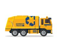 Illustration industrielle de camion à ordures d'isolement par appartement moderne illustration de vecteur