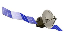 Illustration industrielle satellite cosmique - vaisseau spatial avec les panneaux solaires énormes d'isolement sur le fond blanc  illustration stock