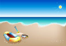 An Illustration of Inflatable Boat and Scuba Mask Royalty Free Stock Images