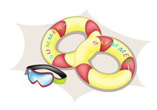 Illustration of Inflatable Ring and Scuba Mask Royalty Free Stock Photos