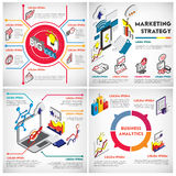 Illustration of info graphic business strategy set concept. In isometric 3d graphic Royalty Free Stock Images