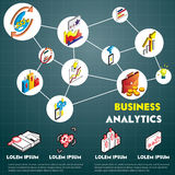 Illustration of info graphic business strategy set concept. In isometric 3d graphic Stock Photo