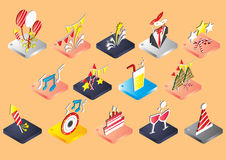 Illustration of info graphic celebration icons set concept. In isometric 3d graphic Stock Photography
