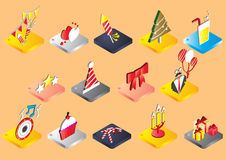 Illustration of info graphic celebration icons set concept. In isometric 3d graphic Royalty Free Stock Photos