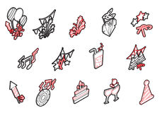 Illustration of info graphic celebration icons set concept. In isometric 3d graphic Stock Photos