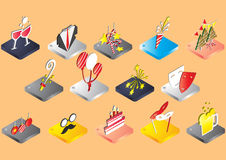 Illustration of info graphic celebration icons set concept. In isometric 3d graphic Royalty Free Stock Images