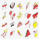 Illustration of info graphic celebration icons set concept. In isometric 3d graphic Royalty Free Stock Photo