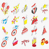 Illustration of info graphic celebration icons set concept. In isometric 3d graphic Stock Images