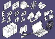 Illustration of info graphic computer icons set concept Stock Photos