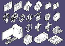 Illustration of info graphic computer icons set concept Royalty Free Stock Photo