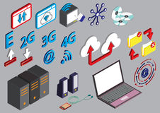 Illustration of info graphic computer icons set concept Stock Photo