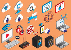 Illustration of info graphic computer icons set concept Stock Images