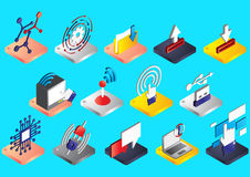 Illustration of info graphic connection icons set concept Stock Image