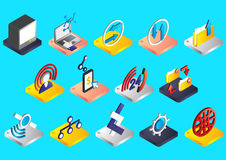 Illustration of info graphic connection icons set concept Stock Images