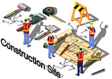 Illustration of info graphic construction site concept Stock Images