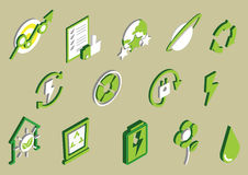 Illustration of info graphic eco icons set concept. In isometric 3d graphic stock illustration
