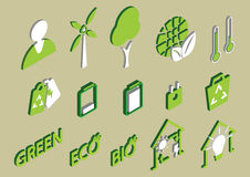 Illustration of info graphic eco icons set concept Stock Photography